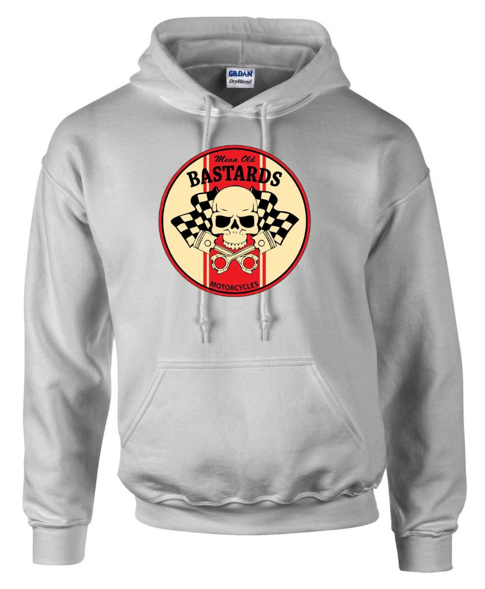 Biker Mean Old Bastards  Round Style  Motorcycle Printed Hoodie in 5 Sizes