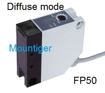 Photoelectric sensor Mountiger FP50 diffuse mode switching distance 2 meter PNP or NPN, NO or NC