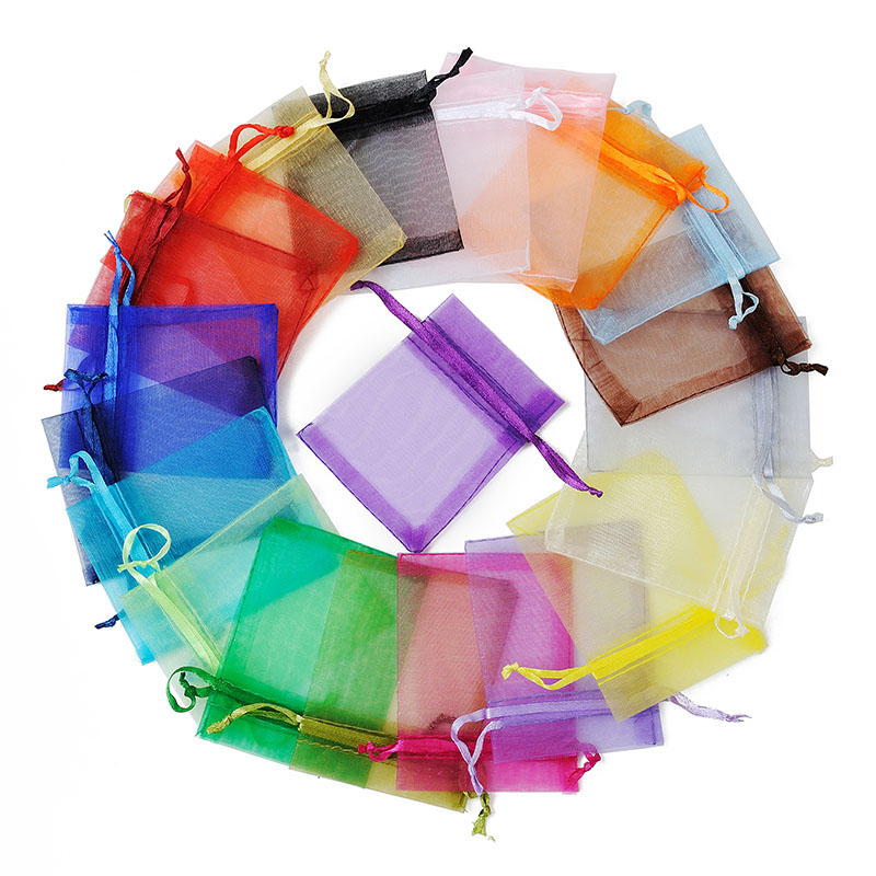 100pcs/lot 7x9cm Mixed Color Bolsas Organza Bags Tulle Jewelry Pouches Christmas Wedding Favor Candy Gift Packaging Bag Saco