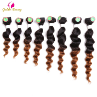 Golden Beauty 8pcs Pack 8 14inch Loose Deep Wavy Hair Extensions Weft Synthetic Hair Weave Of