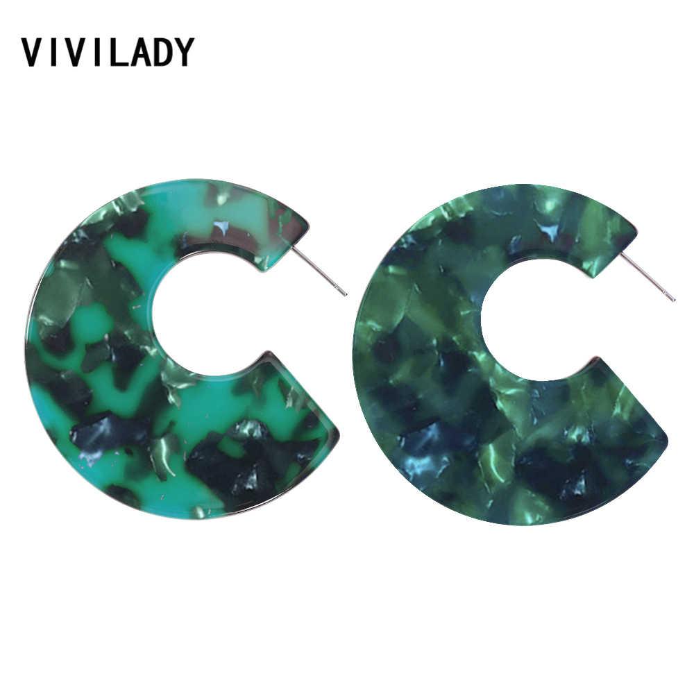VIVILADY トレンディラウンドアクリルフープイヤリング女性デザイナーステートメント自由奔放に生きる亀シェルジュエリー Brinco ビジュークリスマスギフト