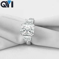 QYI 3 ct Square Cut 925 Sterling Silver Rings Women Engagement Jewelry Sona Simulated Diamond Wedding Rings Gift