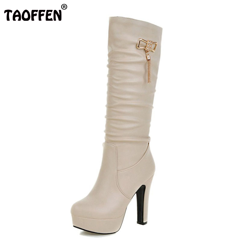 TAOFFEN Size 31-45 Women Knee High Heels Boots Platform Tassel Thick High Heels Boots Warm Shoes Winter Botas Woman Footwears coolcept size 31 45 warm winter boots for women real leather over knee long boots women rivets thick high heels warm botas