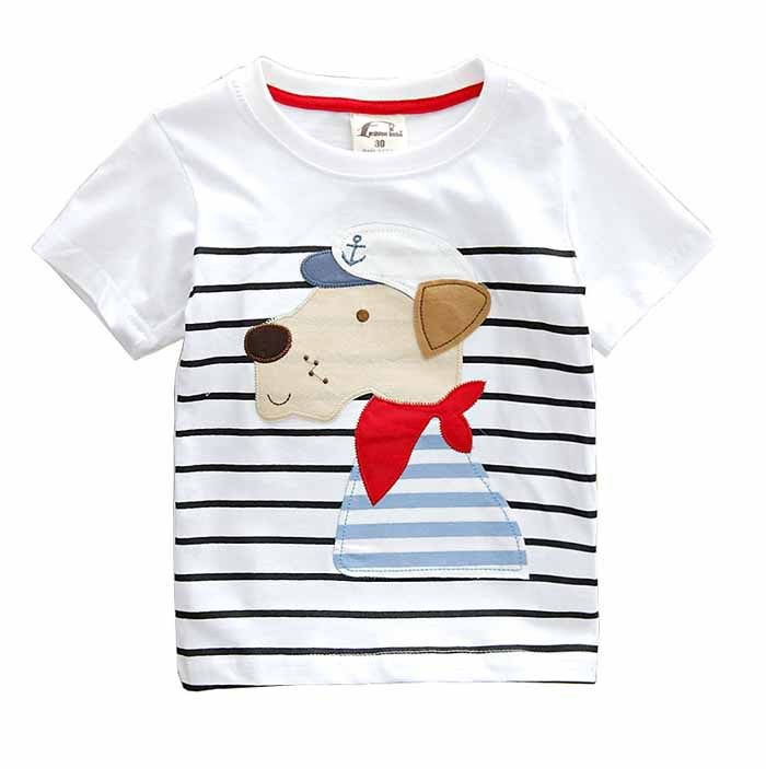 Boys Clothing Tops Kids Shirt Puppy-Pattern Autumn Cotton Summer Old Cute 2-7y