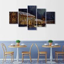 Laeacco Canvas Calligraphy Painting Wooden House Wall Artwork Vintage 5 Panel Poster Print Nordic Home Living Room Decoration