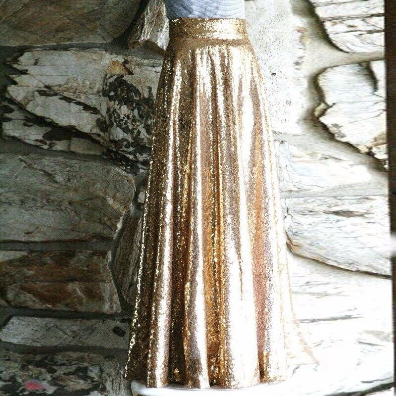 Or Paillettes Champagne Jupes Fête Taille Longueur Bal Haute Élégant Femmes Longues Étage Fermeture TwSC8wq