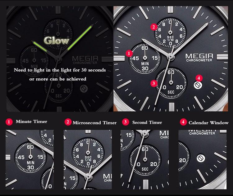 Megir Brand Men's Watch Clock