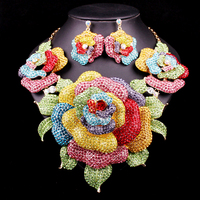 New Bridal Jewelry Sets Wedding Necklace Earrings For Brides Party Dress Costume Accessories Big Flowers Decoration Gift Women