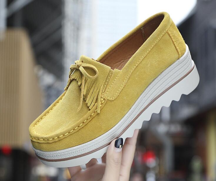 209 Autumn Women Flat Platform Loafers Shoes Ladies   Suede     Leather   Hollow Casual Shoes Slip on Flats Moccasins creepers