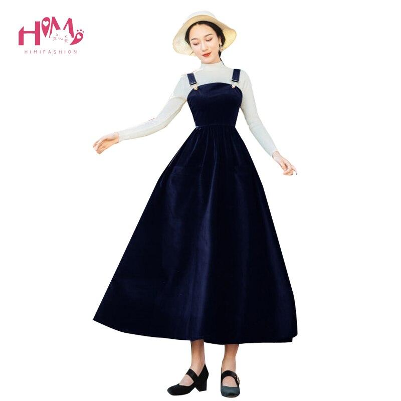 Spring New Style Vintage Corduroy Strapless Long Dress Casual Solid High Waist Slim Dress Women Dress