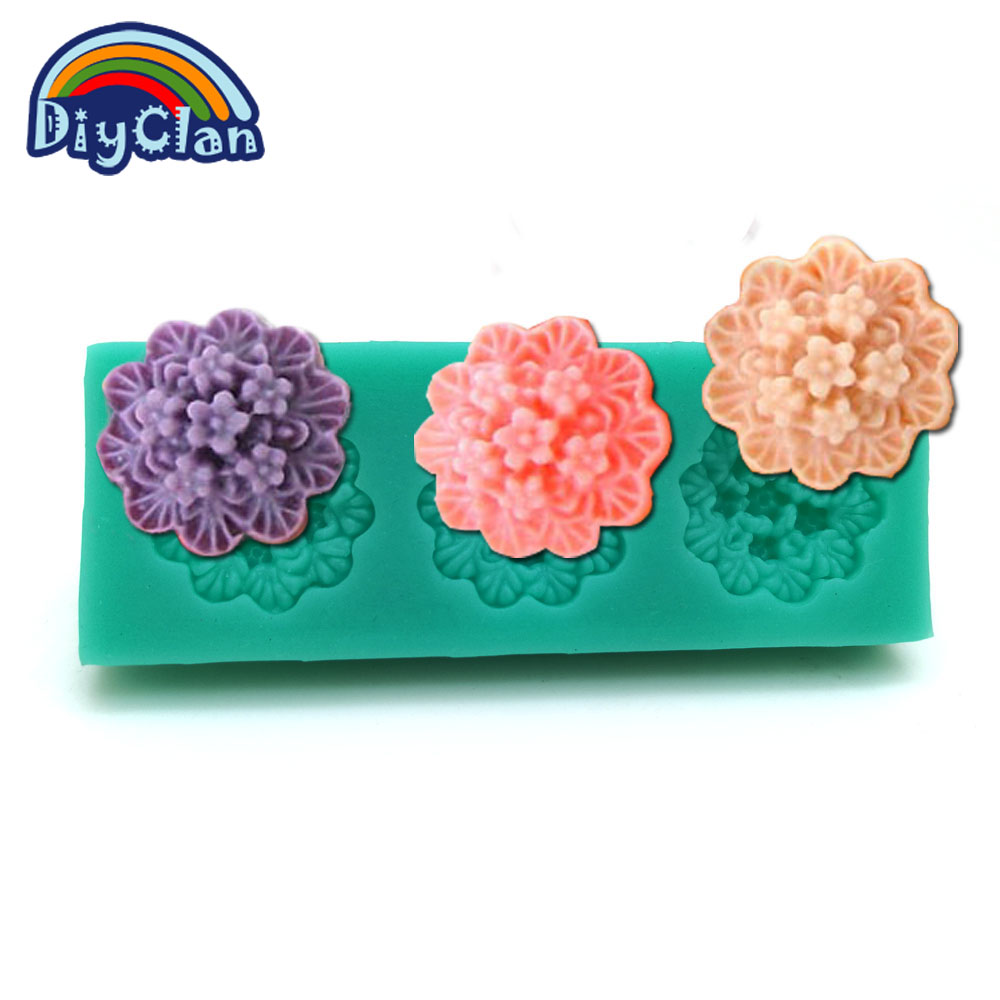 New silicone molds for cake decorating moldes de silicone para confeitaria fondant mold resin flower chocolate mould F0021HM35