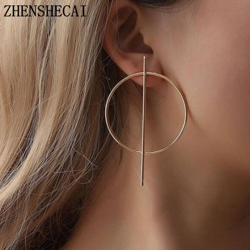 Fashion Minimalist Geometric Circle Earring Contracted Temperament Earrings Long Female Stud Earrings For Women