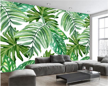 beibehang European fashion classic papel de parede wallpaper retro hand painted banana leaf plant living room background tapety