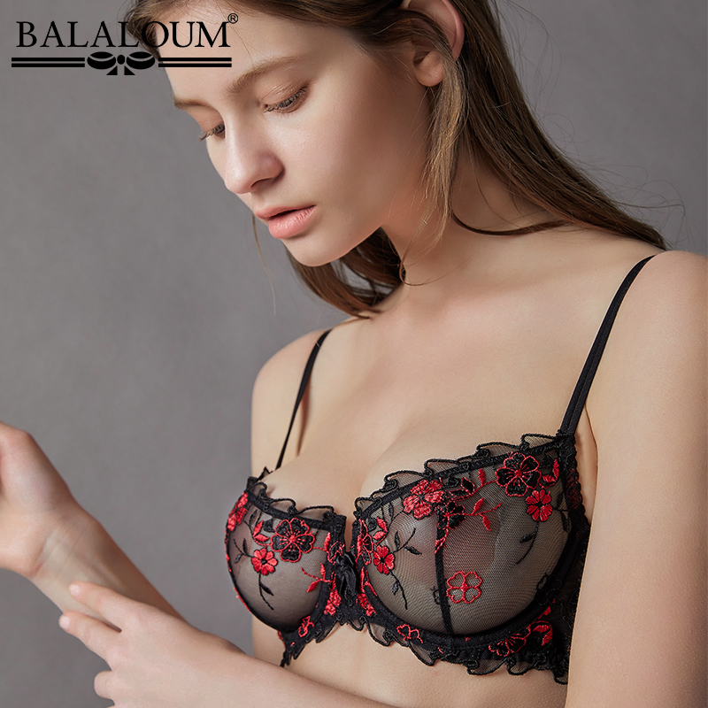 BALALOUM Women Sexy Hot Ultra-thin Transparent Bra Erotic Summer Lace Embroidery Balconette Brassiere Female Lingerie Underwear