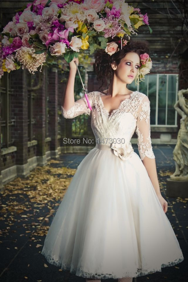 2014 A Line Mid Calf Wedding Dress With 34 Length Sleeves Factory