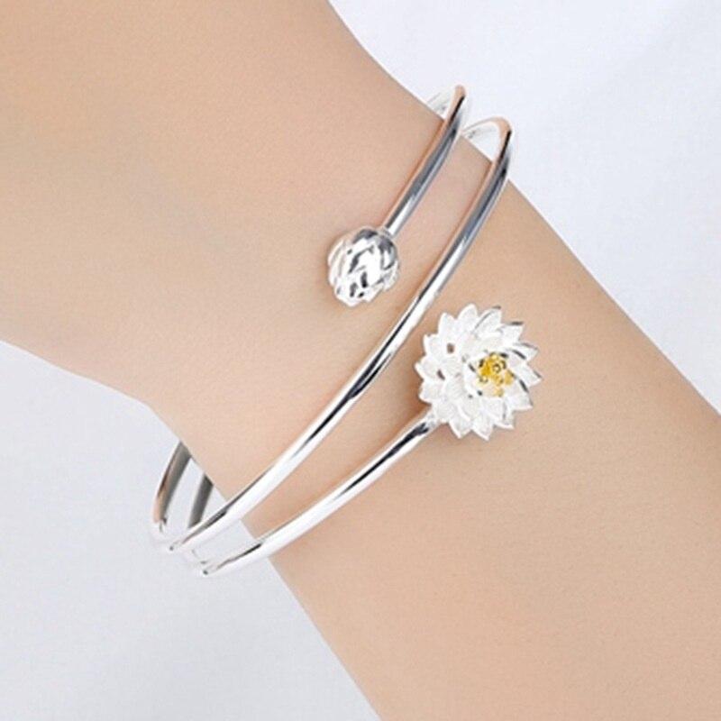 Sweet Sterling Silver Lotus Flower Screw Multi Layered Adjustable Bangle Charm Bracelets for Women, Stackable Bracelet, Gifts