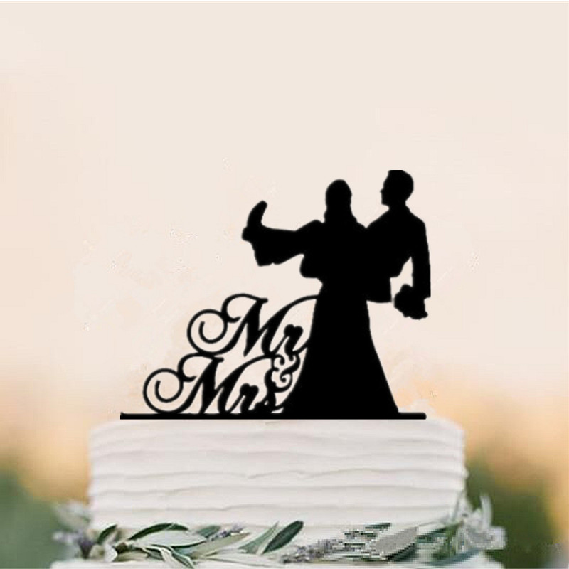 Us 9 39 6 Off Wholesale 5pcs Lot Bride Lift Groom Funny Wedding Cake Topper Black Acrylic Mr Mrs Toppers Engagement Anniversary In Cake Decorating