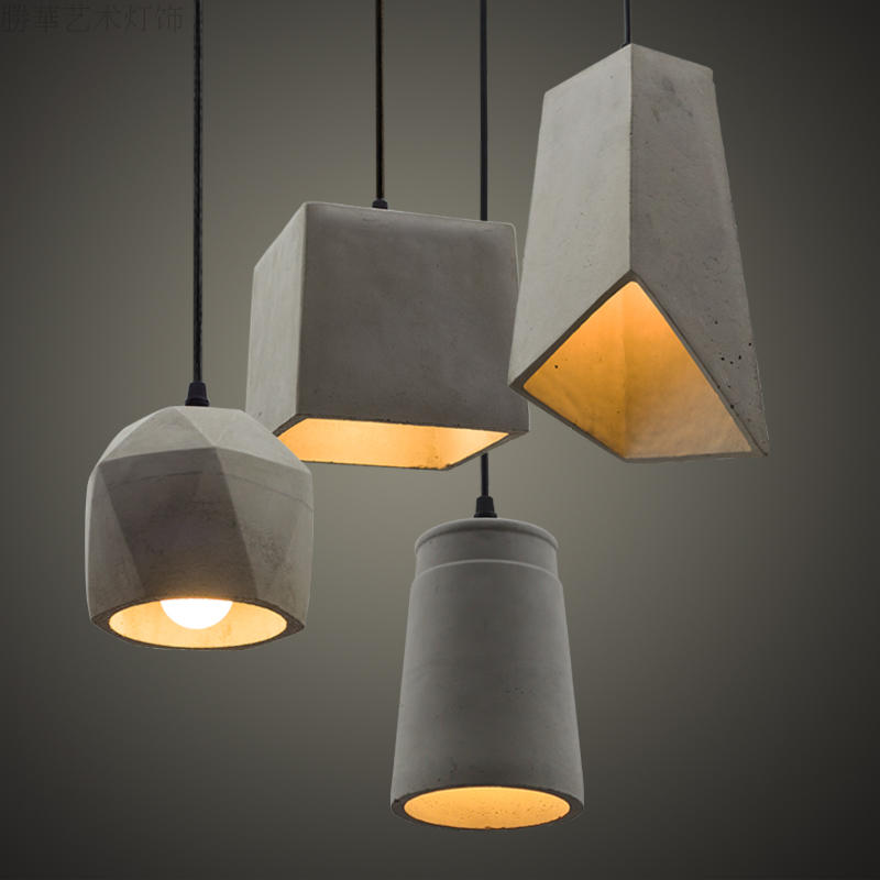 Nordic Rustic Cement Pendant Lights 4 kinds natural cement suspension lamp Vintage Industrial Lighting Fixtures Hanging lamp