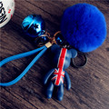 Bomgom Rabbit Fur Pompom Cartoon Popobe Gloomy Bear Keychain Leather Strap Bag Charm Holder Cartoon Key Chain Key Ring Pendant