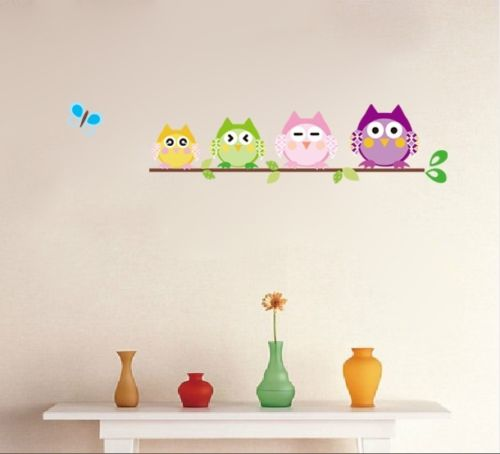 4 Colorful Owls Butterfly Baby Kids Nursery Decals Wall Sticker Decor PVC B ku1 ...