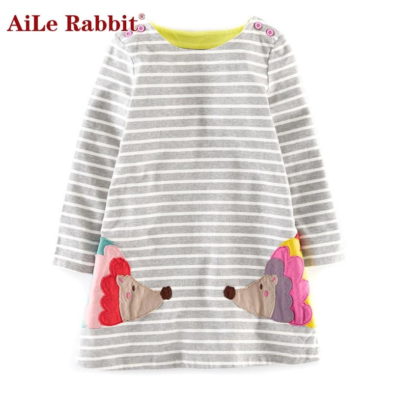 d5ac9faaf6915 أيل الأرنب الاطفال ملابس الفتيات الكرتون اللباس زين الحيوان التطريز فستان  بكم طويل الاطفال الأميرة طفلة الصلبة اللباس