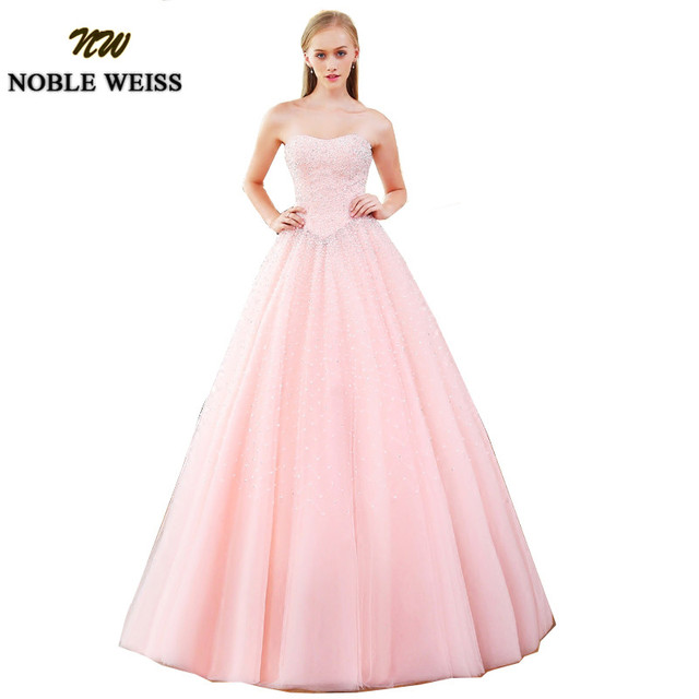 NOBLE WEISS Charming Pink Quinceanera Dress Ball Gown 2019 New Sexy Sweetheart Vestidos de 15 anos Beading Sweet 16 Dresses