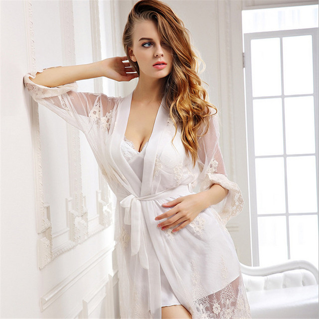 Autumn butterfly sleeve nightdress women Sexy Lace fashion Sleep Pajamas nightgown Sets two-piece Embroidery suspenders skirt