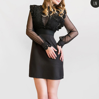 Spring Summer Dress 2017 New Women Lace Dress Fashion Ladies Plus Size Black Vestidos Sexy Slim