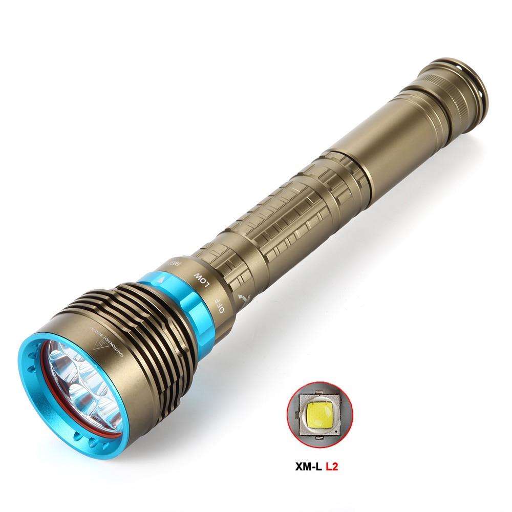 7x XM-L L2 LED 14000Lm impermeable buceo linterna submarina impermeable submarino luz lámpara linterna antorcha