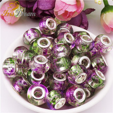 10Pcs Large Hole Murano Spacer Bead Charms Plastic Resin Glass Beads For DIY Jewelry Making Fit Pandora Bracelet Bangle Earrings цена