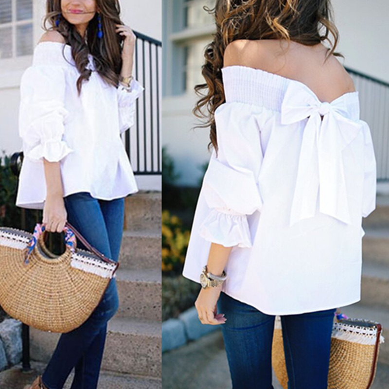 2018 Sexy Off Shoulder Tops Spring Summer Strapless Women Blouse Bowknot Slash Neck Shirts Casual Loose Blusas Plus Size Solid