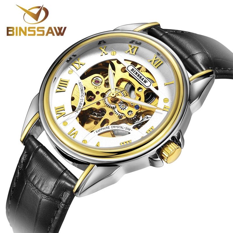 BINSSAW Merk Skeleton Gouden Horloges Heren Mechanisch Polshorloges - Herenhorloges - Foto 2