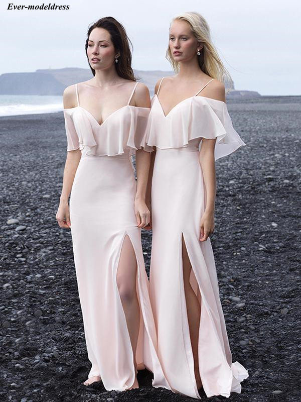 Blush   Bridesmaid     Dresses   Long Off Shoulder Side Split Straps Zipper Back Sweep Train 2019 Wedding Guest Prom Party Gowns Cheap
