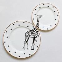 6&8 Inch Animal Combined Plates Set Ceramic Plates Fox Elk Giraffe Zebra Pattern Plates Steak Breakfast Cake Fruits Dish R373