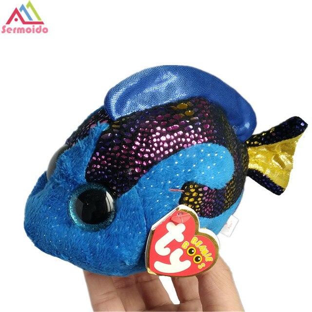 dcfdbe45ca0 sermoido TY 6   Beanie Boos Flippy Color Fish Plush Stuffed Animal  Collectible Soft Big Eyes Doll Toy DBP106