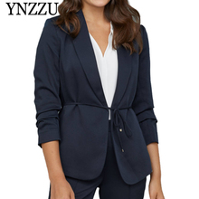 YNZZU 2019 Autumn Loose casual Women blazer Lace up Three quarter Office lady style suit Hot sale Notched feminino YO865