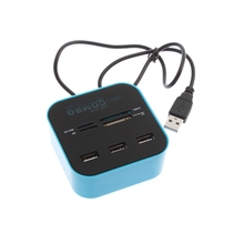1Pcs USB 2.0 hub Combo All In One Multi-card Reader with 3 ports for MMC/M2/MS Blue Color Wholesale C1