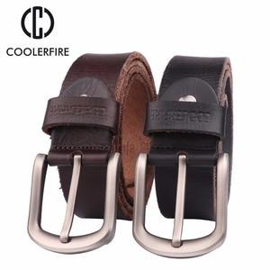Image 2 - 2017 New men belt top full grain 100% real genuine cowskin leather soft jeans belt TM050