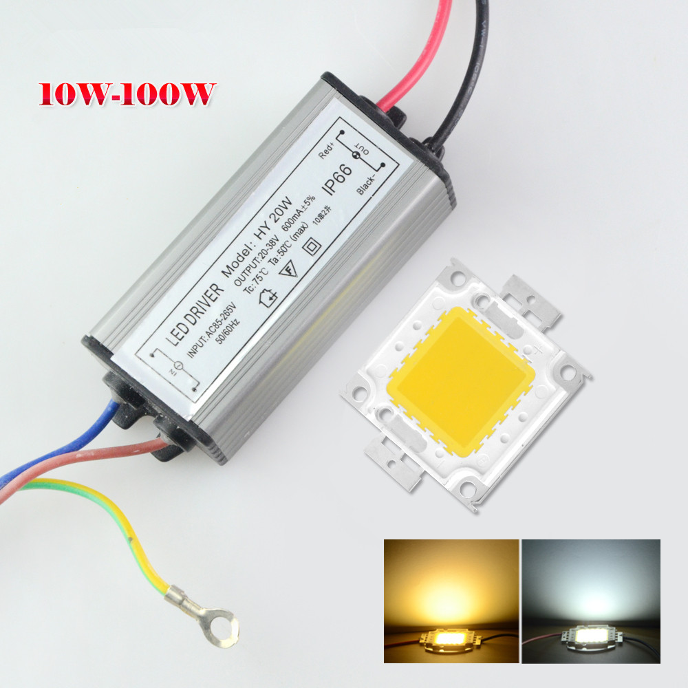 1set high power 10w 20w 30w 50w 100w full watt cob led lamp chips with led driver diy flood. Black Bedroom Furniture Sets. Home Design Ideas