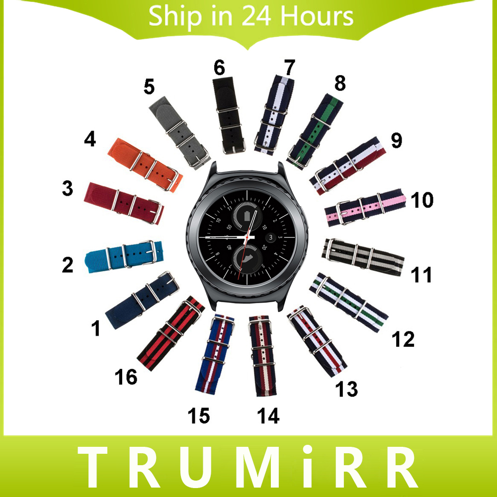 20mm Nylon Watch Band for Samsung Gear S2 Classic R732 & R735 Moto 360 2 42mm Men Fabric Strap NATO Bracelet Multi Colors + Tool wireless cradle charger for samsung gear s2 classic smart watch