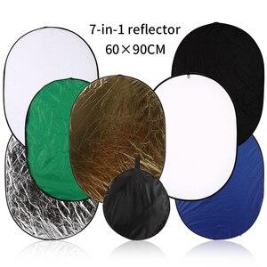 Image 2 - 24 pouces x 35 pouces (60cm x 90cm) photographie réflecteur ovale pliable Photo vidéo 7 en 1 réflecteurs de lumière disque