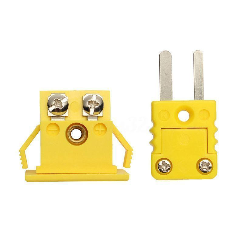 Yellow Thermocouple Socket Shell Plug Adaptor Mini Thermometer Universal K-Type Miniature Panel Mount Alloy Nylon