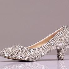 Mittlere ferse Weibliche Brautjungfer Schuhe hochzeit schuhe mit strass Frauen Runde Kappe Vogue Glitter Heels Party Prom Schuhe