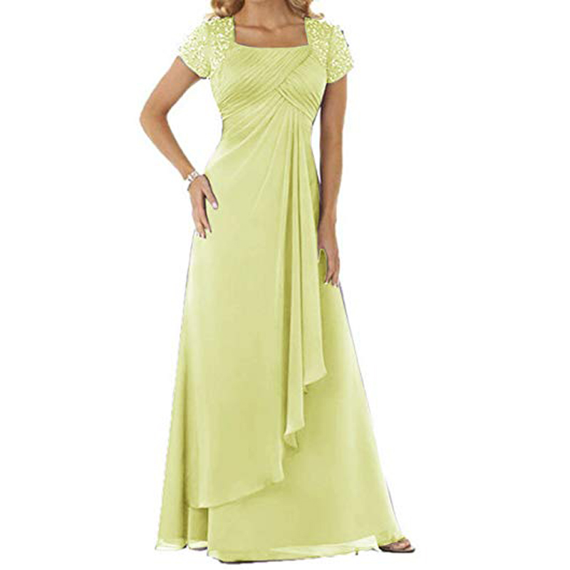 chiffon square mother of bride dress with rhinestones