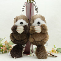Gray and brown Mini cute Small animal plush doll pendant Keychain One pair for sale Height 12cm Valentine's Gift
