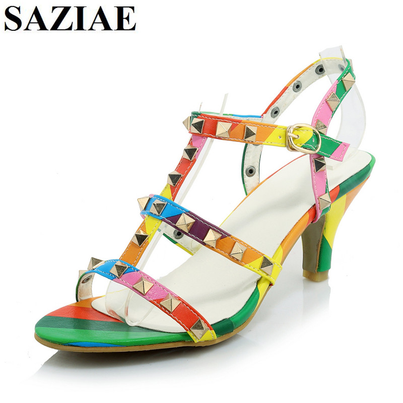 [SAZIAE] New Arrive Fashion  Sandal Women Shoes Summer  Thin Heels Mixed Color Opentoe Sexy Party Rivets  Sandals Women  Shoes 2015 summer new rome sweety fish head mixed color women sandals high heels women sandal breathable comfort women sandals e1092