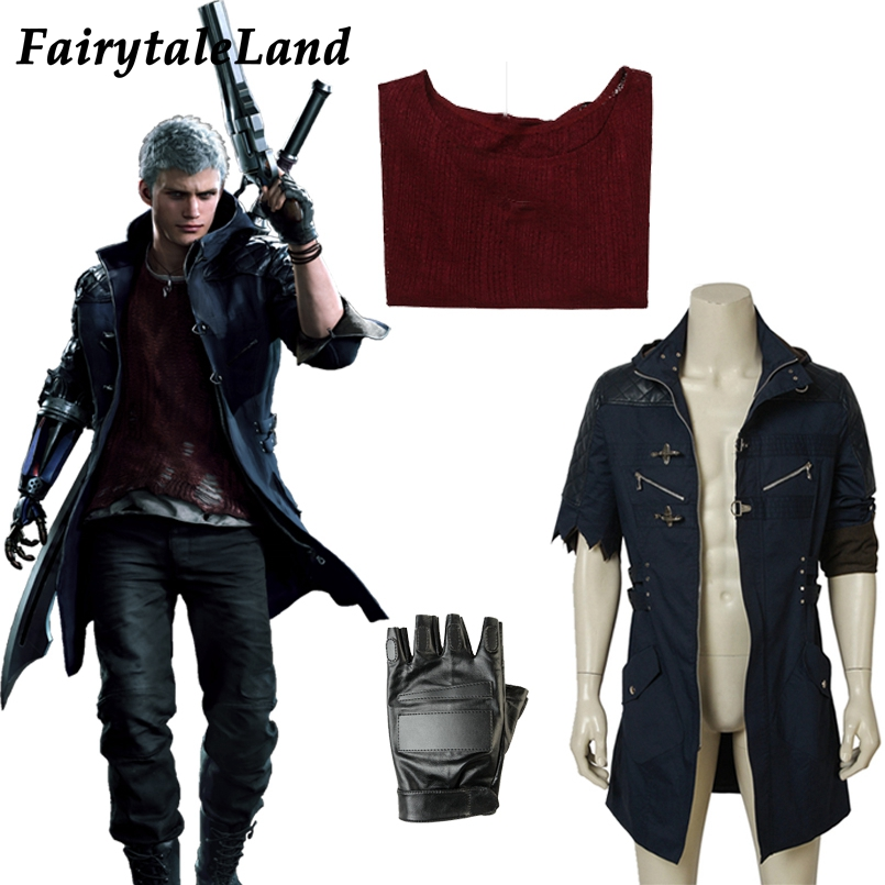 Game DMC5 Nero Cosplay Costume Gloves Props Halloween Cosplaying Hunter Nero Full Suit Custom Made DMC 5 Nero Outfit Coat Jacket