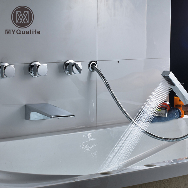 Luxury Polished Chrome Widespread 5pcs Roman Bathroom Tub Faucet ...