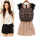Rompers Womens Jumpsuit Summer Short Sleeve O-Neck Overalls Slim Lace Bodysuit With Belt Women Shirts Casual Jumpsuits