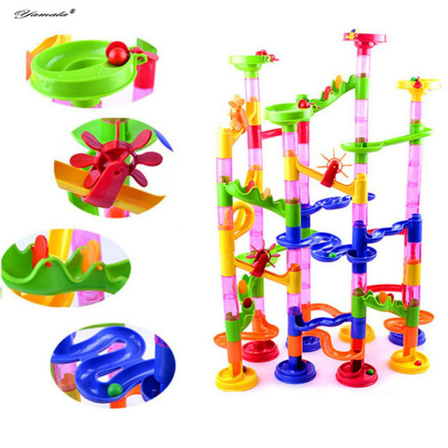 Yamala 105pcs DIY Pipeline Type Marble Race Run Maze Balls Track Puzzles Maze Learning Education Toys Kid IQ Trainer Game